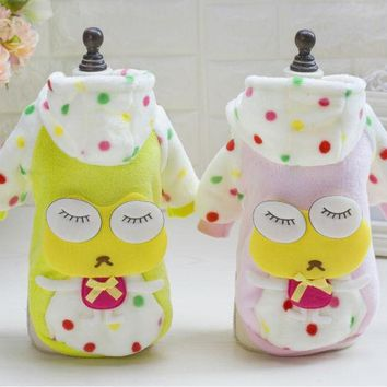 Y128 Sweety Warm Pet dog coat clothes Winter coral Puppy dog Jacket Dot frog costume clothes for Chihuahua yorkshire