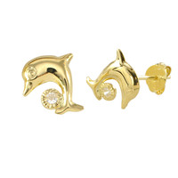 10k Yellow Gold Dolphin with CZ Ball Stud Earrings with Friction Pushbacks 9x8