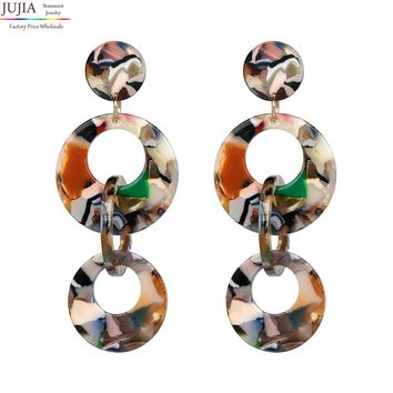 JUJIA 4 color resin dangle earrings Trend fashion women long big vintage jewelry statement Earrings for women