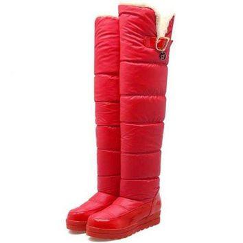 Womens High Length Slip-on Warm Waterproofing Winter Boots