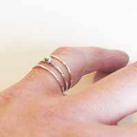 Set of 3 Silver Stacking Rings - Two super Thin Hammered Rings & One Tiny Dot Silver Ring - Trendy Silver Ring