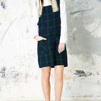 Vintage O&O Tartan Pinafore in Green - Urban Outfitters