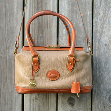 Vintage Dooney & Bourke Doctor Satchel Taupe Leather Purse