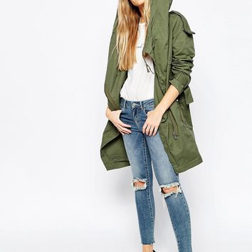 ASOS PETITE Parka with Waterfall and Storm Flap