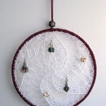 Earring Holder Display / Jewelry Organizer Stud Post & Dangle / Dreamcatcher - Snow White w/ Red Wine Burgundy Border Wrapping