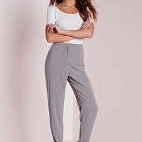 Missguided - Crepe Cigarette Pants Grey