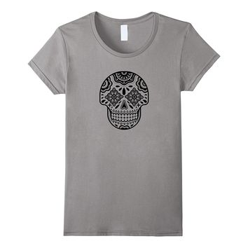 Day of the Dead Sugar Skull Black and White Halloween Shirt