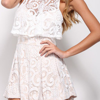 White Semi Sheer Lace Romper