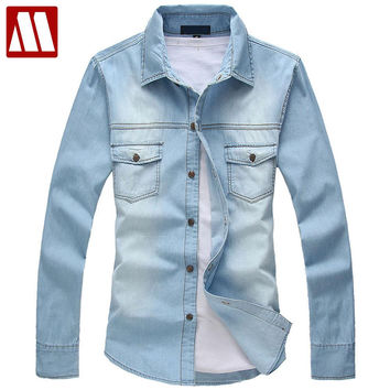 Spring Men Denim Jeans Shirt Style Casual Shirt Western Fashion Shirts for Male