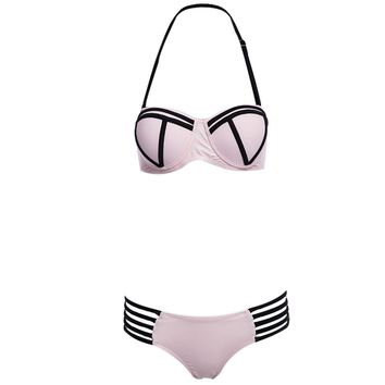 Sexy Halter Padded Underwire Lace-up Bra + Low Elastic Waist Hollow Out Patchwork Color Block Bikini Set for Women
