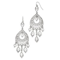 1928 Silver-Tone White Crystal Fancy Dangle Earrings