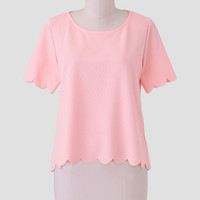 Just In Love Scalloped Blouse In Pink
