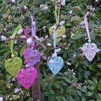 Six Spring Filigree Heart Decorations