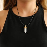 All White Quartz Crystal Necklace with adjustable black chord