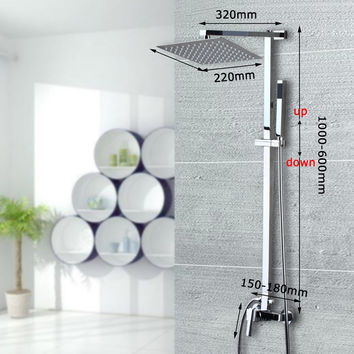 Polished Chrome Wall Mount Rainfall Shower Faucets + Shower Head + Handheld Shower + Tub Spout