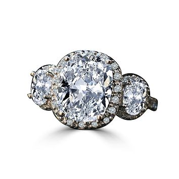 2.5 CT. Intensely Radiant Cushion Diamond Veneer Cubic Zirconia Center Halo Settings with side Ovals Ring. 635R71683
