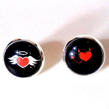 Angel and Devil, Stud Earrings, Good and Evil, Naughty and Nice, Devil Tail, Angel Wing Earring, Devil Earring, Heart Jewelry, Heart Earring