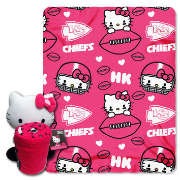 Chiefs  40x50 Fleece Throw and Hello Kitty Character Pillow Set