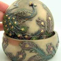 PLC Round Resin Peacock Green Purple Feathers in Tree Jewelry Keepsake Treasure Box