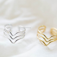 tree line chevron ring,thumb rings,,Mid Finger Rings, Gold Knuckle Rings, Midi Rings, Chevron Rings, Set of 3