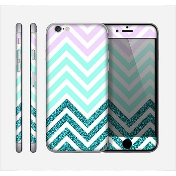 The Light Teal & Purple Sharp Glitter (Print) Chevron Skin for the Apple iPhone 6