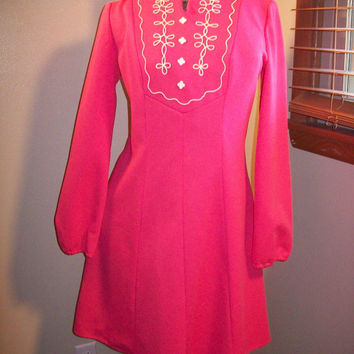 Vintage 60s 70s Amazing HOT PINK Mod Scooter Girl Rockabilly Airline Stewardess Mini Cocktail Dress