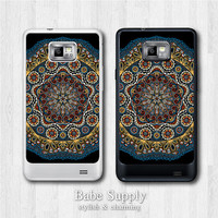 Samsung Galaxy S2 case - Black Floral Mandala - galaxy S2 cover, Black / Clear hard SII case