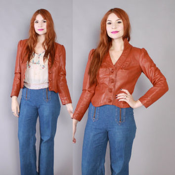 Vintage 70s Leather JACKET / 1970s Caramel Brown Puff Sleeve Fitted Boho Coat XS - S