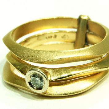 Matte Gold  Engagement Ring With Diamonds, Attached ring, Hammered Ring, Yellow Gold Ring