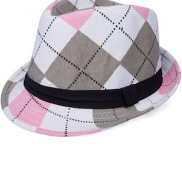 Pink And Grey Plaid Baby Prop Fedora Hat - CCHT108