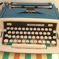 Teal Royal Custom III Typewriter with Case