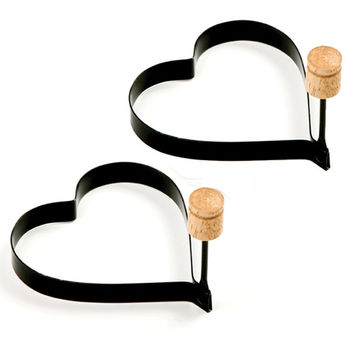 Non Stick Metal Heart Shaped Egg Ring w/ Handle - 2 pack