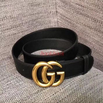 GUCCI Fashion Classic Woman  Men Smooth Metal Buckle Belt Leather Belt I