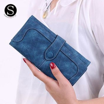 Senkey Style Wallet Women Leather 2017 Luxury Brand Lady's Credit Womens Wallets And Purses Stitching Scrub Money Clip Clutch