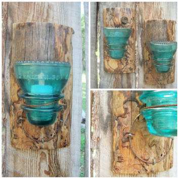 Rustic Wall Sconce Glass Insulator Sconce Rusty Bed Spring Sconce Rustic Candle Holder Made In Montana Rustic Wall Lighting Cabin Decor