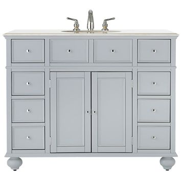 Home Decorators Collection Hampton Bay 44 in. W x 22 in. D x 35 in. H Vanity in Dove Grey with Marble Vanity Top in White with White Basin-3620910270 - The Home Depot