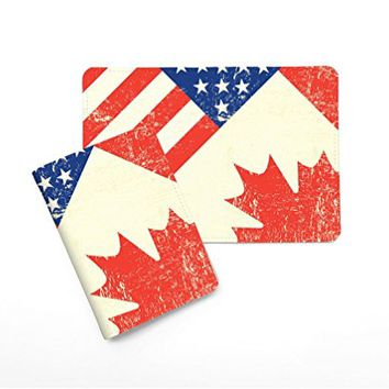 US Canada Flag Eagle Passport Holder - Novelty Leather Passport Cover - Vintage Passport Wallet - Travel Accessory Gift - Travel Wallet for Women and Men_LOKISHOP