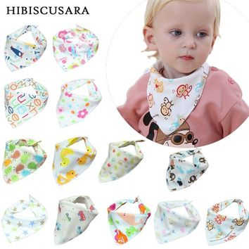Baby Bibs High Quality Triangle Double Layers Cotton Baberos Infant Boy Girl Cartoon Bandana Bibs Bebe Dribble Bibs With Button