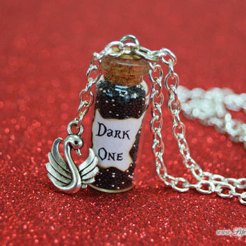 Dark One Necklace with  Swan Charm, Dark Swan, Emma Swan is the Dark One, Once Upon a Time Season Four Finale, Life is the Bubbles