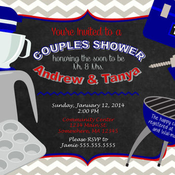 Couples Wedding Shower Custom Printable Invitation. Blue, Gray, White, Red Chevron.  Casual Couple Shower Kitchen BBQ Invite. Bridal Shower.
