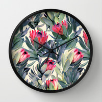 Painted Protea Pattern Wall Clock by Micklyn