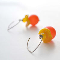 Yellow Orange Ruffle Glass Earrings by bstrung on Etsy