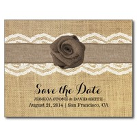 Rustic Burlap Rose & Ribbon Lace Save the Date
