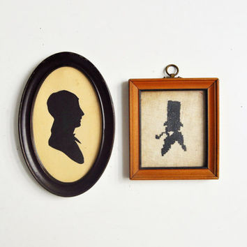 Pair of Vintage Silhouette Portraits