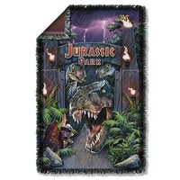 Jurassic Park Welcome To The Park Woven Tapestry Blanket - Trevco - Jurassic Park - Bed and Bath at Entertainment Earth