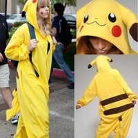 Unisex Adult Onesuit Kigurumi Pajamas Anime Costume Dress Pikachu Sleepwear