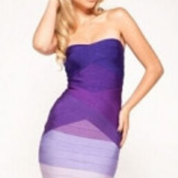 Purple Strapless Ombre Bandage Dress