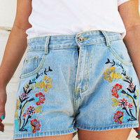 Day Out Flower Embroidered Short