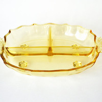 Fostoria Baroque Topaz Yellow Divided Dish Large Footed Depression Glass