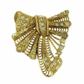 Vintage Jewelry Brooch Large Gold Pave Bow Paste Rhinestones 1930S Art Deco